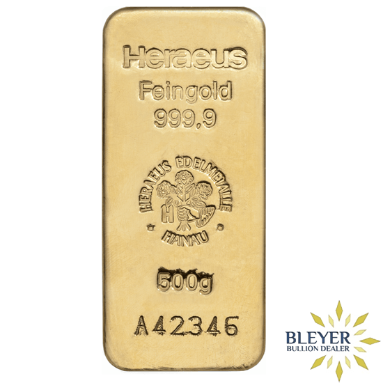 500g Cast Gold Bar Produced By Lbma Refiner Heraeus Competitive Prices Inclusive Of Fully Insured Delivery Gold Bullion Bars Gold Bullion Gold Bar