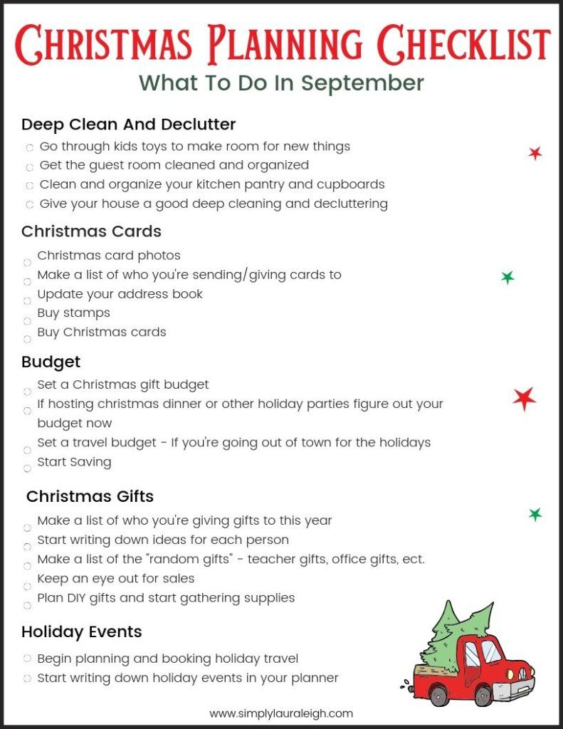 Christmas Planning By Month – What you need to be doing in September if you want a stress-free Christmas ( With FREE Pintable Checklist)