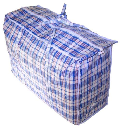 Large Plastic Checkered Storage Laundry Shopping Bags W Zipper