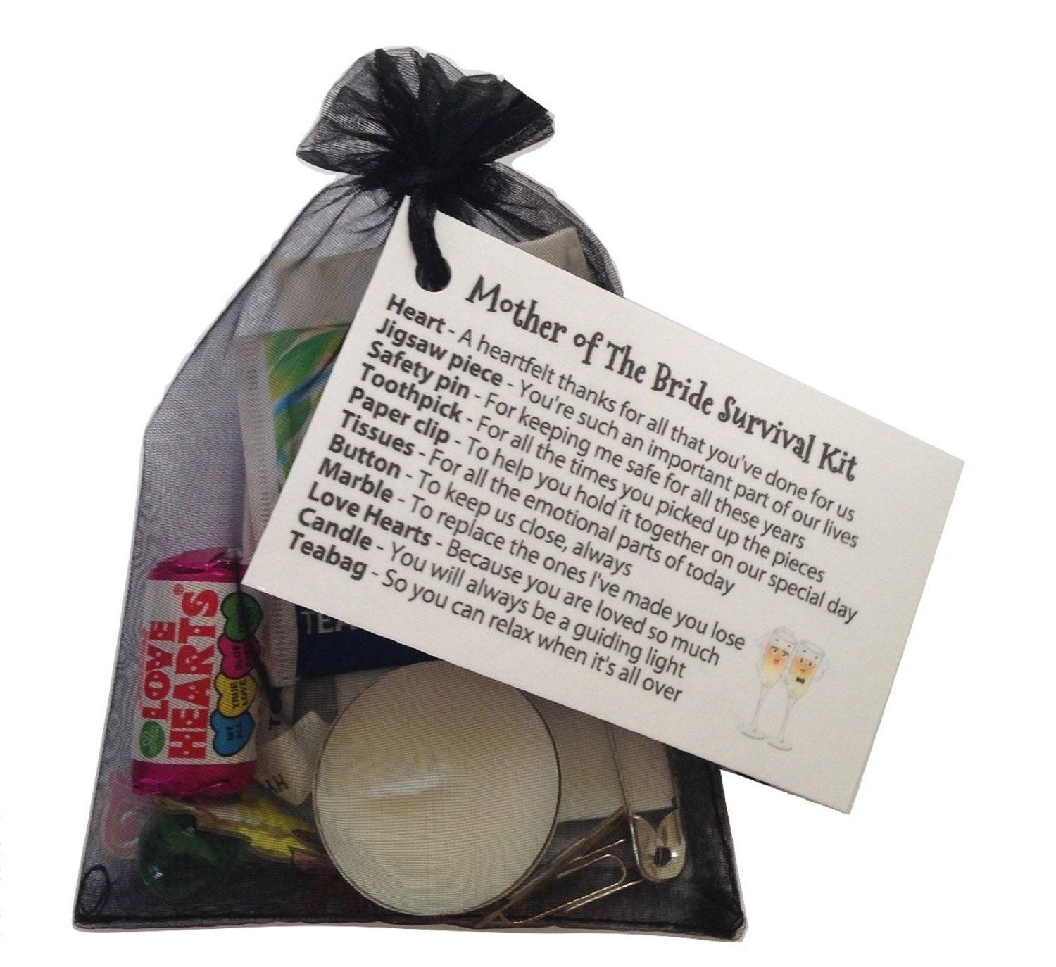 Mother of the Bride Survival Kit in Black. Thank you gift & card ...