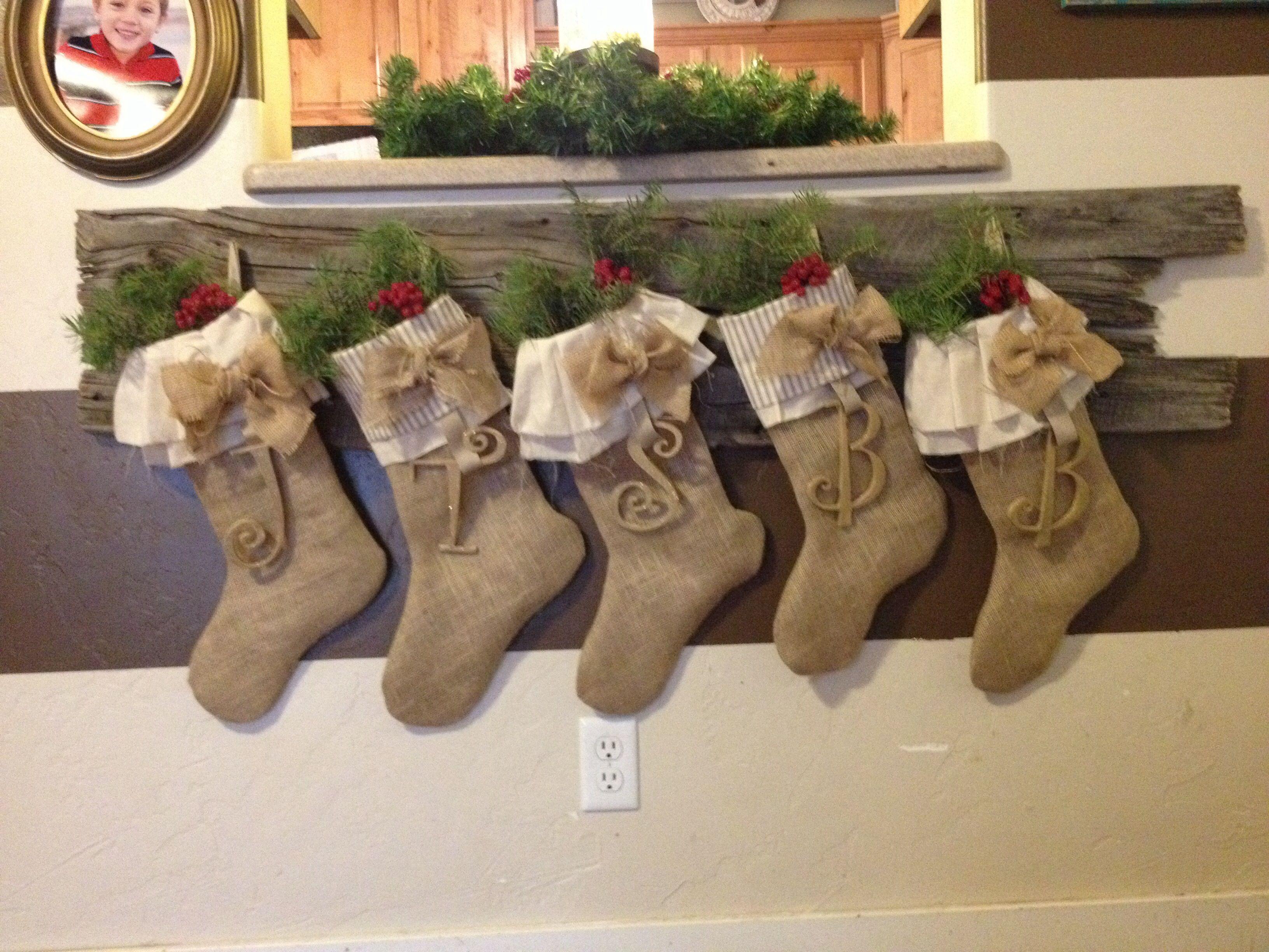 Christmas Decor Burlap Initial Stockings