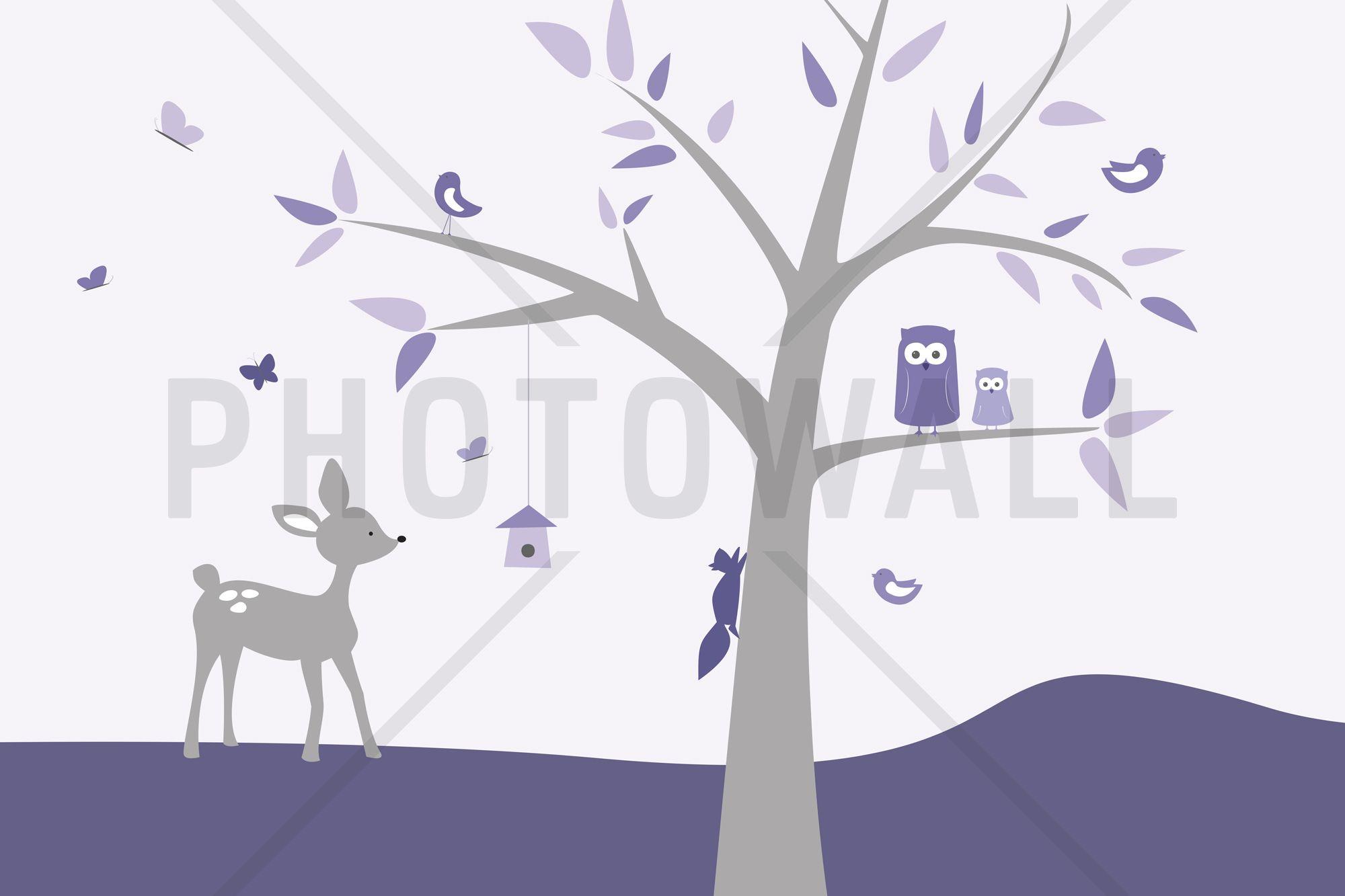 Animal Tree Purple Deer - Fototapeter & Tapeter - Photowall
