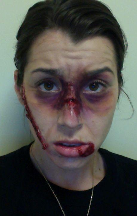 Busted lip, sliced face, broken nose, middle age makeup ...