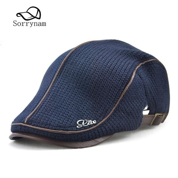 e0dd7891 2017 High Quality English Style Winter Woolen Elderly Men Cap Thick Warm  Beret Hat Classic Design Vintage Visor Cap Snapback