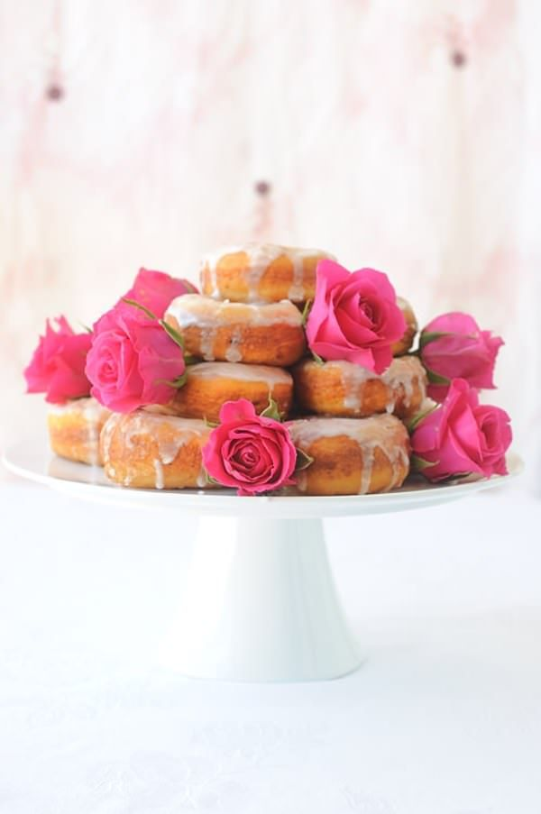 Potato Doughnuts with a Rosewater Icing