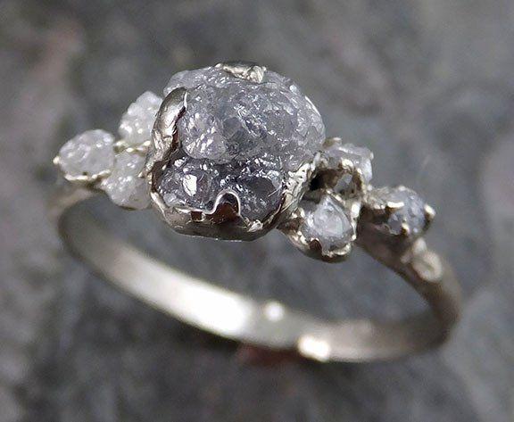 Raw Diamond White Gold Engagement Ring Rough Wedding