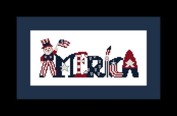 "Cross Stitch Pattern ""America"" with Uncle Sam - Digital File - X Stitch Pattern, Patriotic Cross Stitch, 4th of July Cross Stitch"