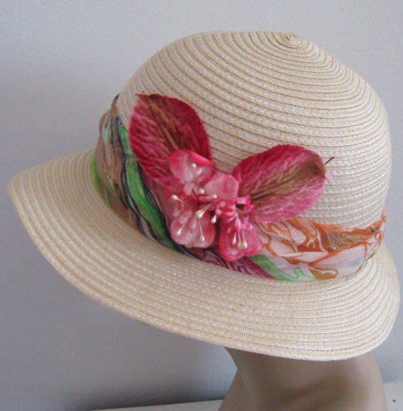 Vintage Tropical  BUTTERFLY STRAW HAT 1970s by vintagous on Etsy, $12.90