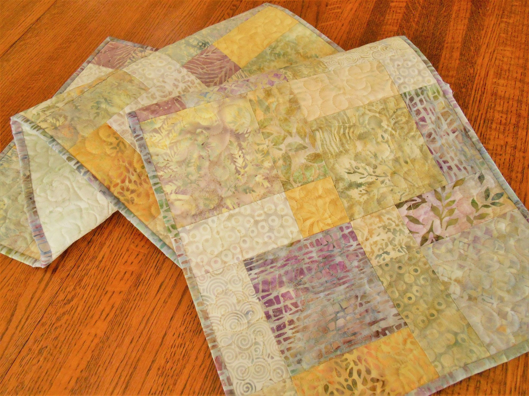Quilted Batik Table Runner In Shades Of Lavender Yellow Green Bedroom Decor Dresser Runner Bureau Scarf Na Batik Table Runners Quilted Table Runners Quilts