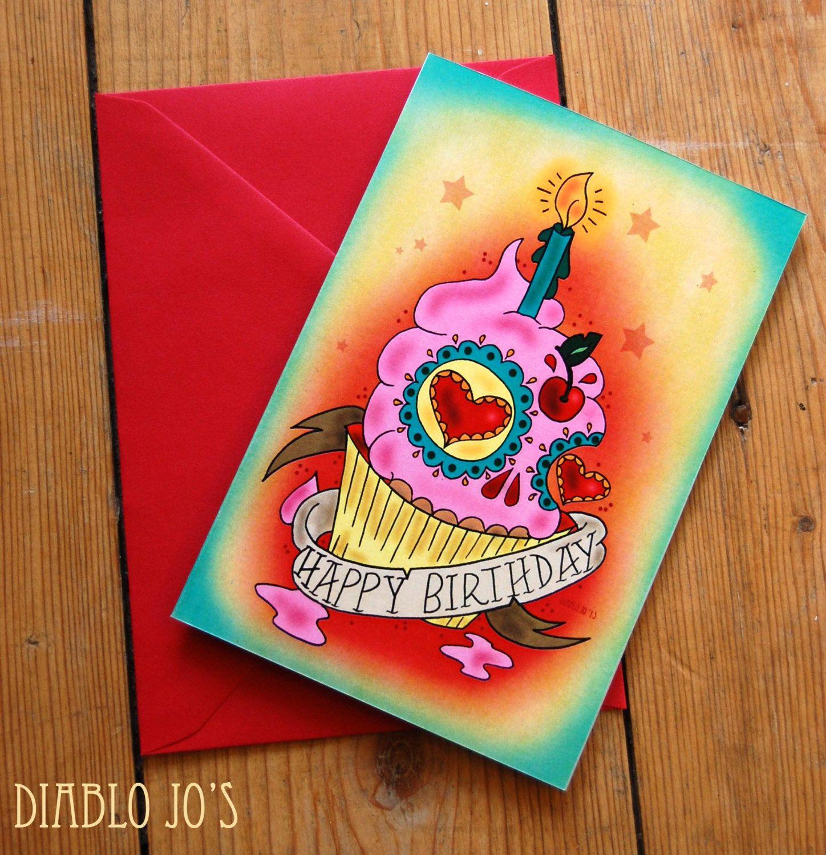 Sugar Skull Cupcake Birthday Card With Tattoo Scroll Mexican Etsy Cupcake Birthday Cards Cupcake Card Skull Cupcakes