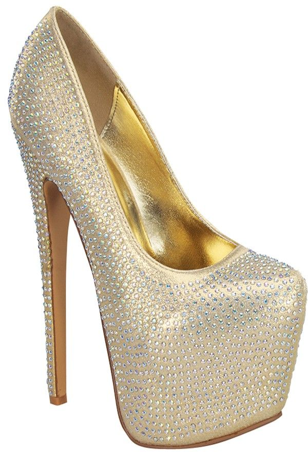 GOLD HIGH HEEL PUMP PLATFORM RHINESTONE DESIGN be8360dd70d8
