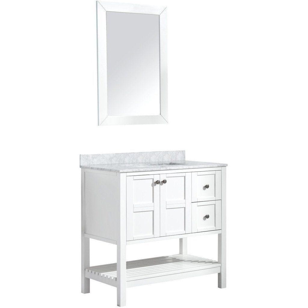 Anzzi Montaigne 30 X 35 Rich White Bathroom Vanity Set V Mgg011 30 White Vanity Bathroom Vanity Set White Bathroom