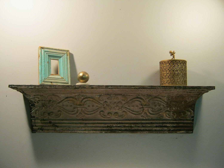 Repurposed Tin Ceiling Shelf Mantle Shabby Chic 35 5