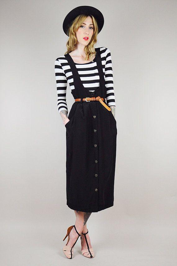 ea0f3e8f25ee vintage 80 s BLACK SUSPENDER pocket minimal dress jumper OVERALL midi  sundress