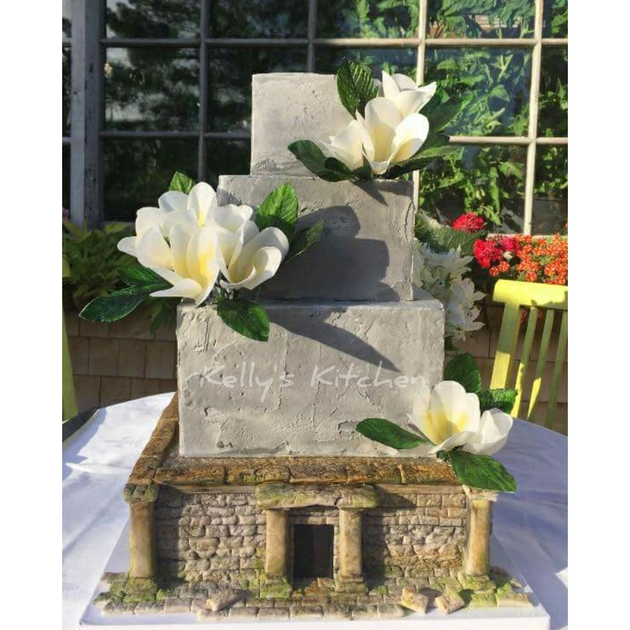Wedding decorations with mums november 2018 Angkor Wat inspired wedding cake Frangipani flowers and leaves are
