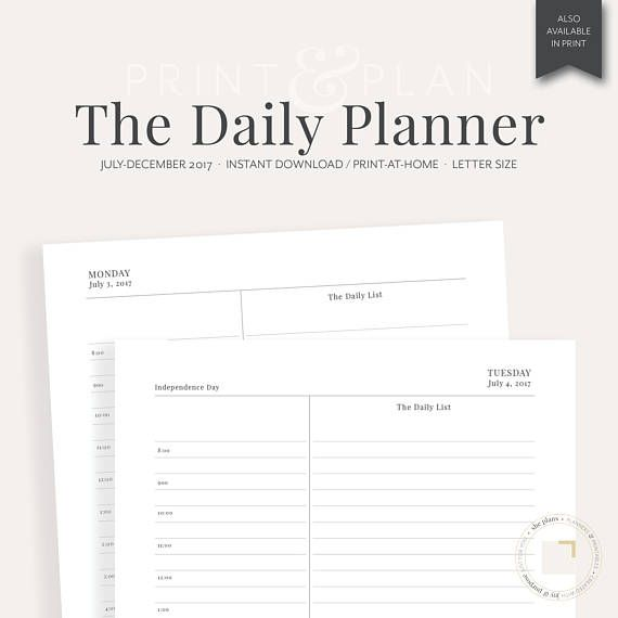 2017 daily planner printable july dec 2017 planner inserts daily