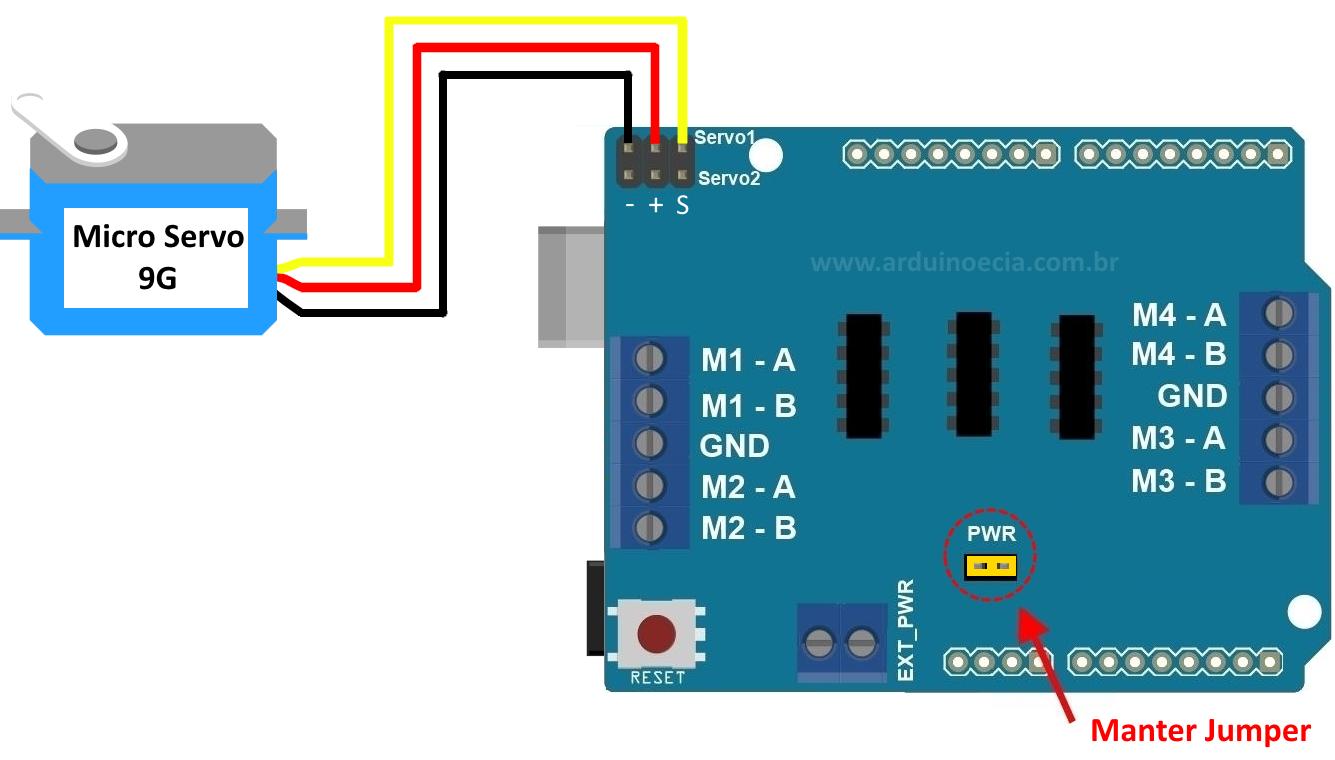 Controlando servo motor com o motor shield l293d arduino for Micro stepper motor datasheet