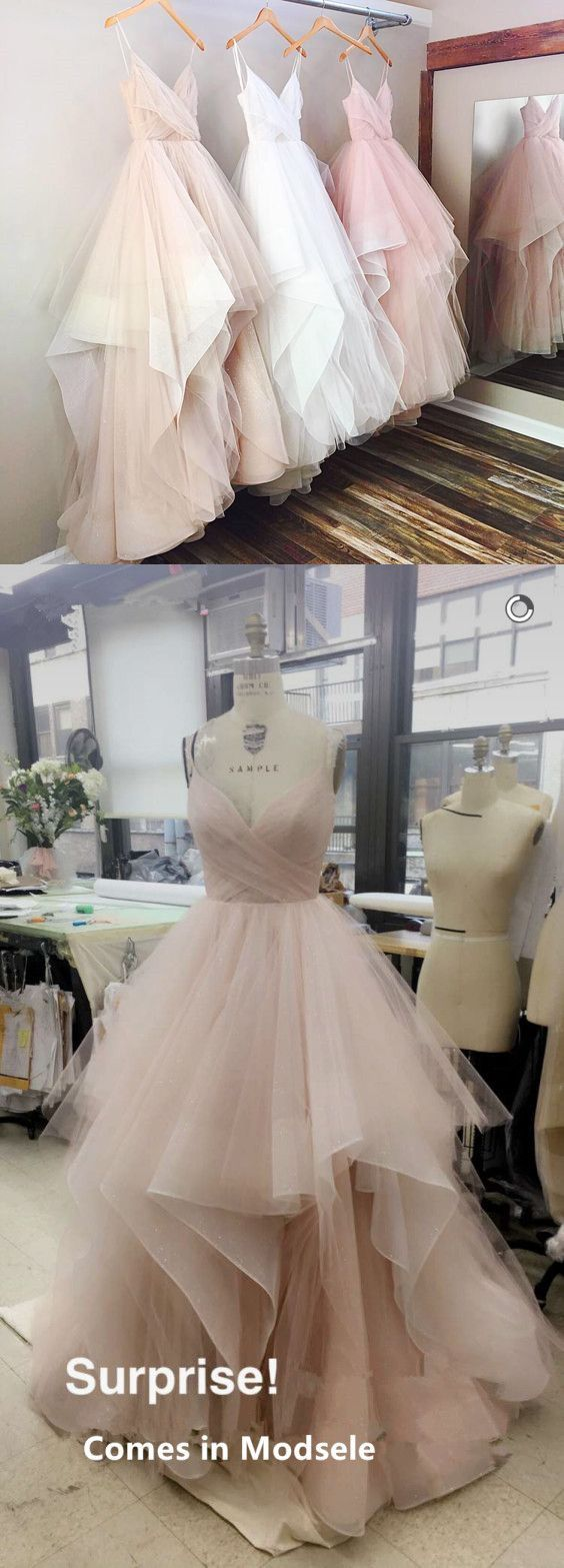 Gorgeous aline vneck spaghetti straps long wedding dress from