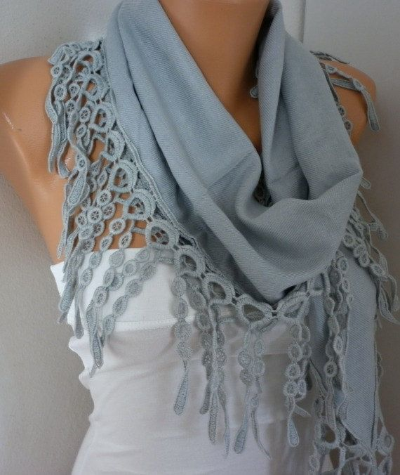 ON SALE - Gray  Scarf  Shawl -  Pashmina Scarf  - Lace Edge - fatwoman - Fashion Accessories