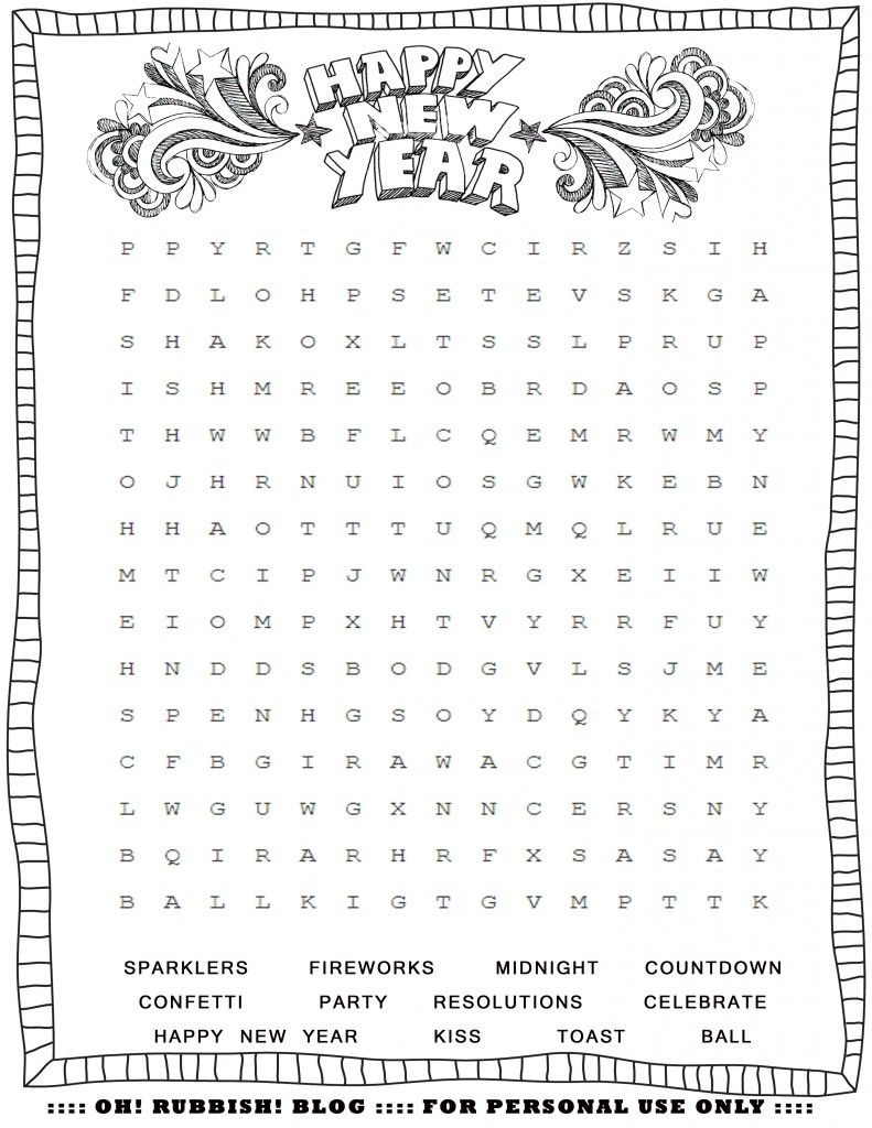 Happy New Year Word Search by oh! rubbish! blog | Lil Brains: First ...