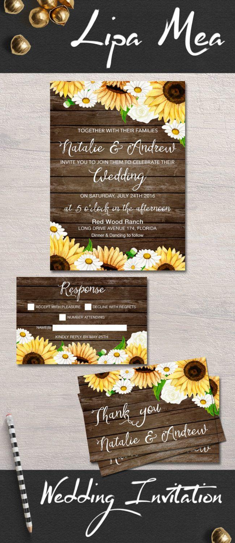 Sunflower Wedding Invitation fall autumn Wedding