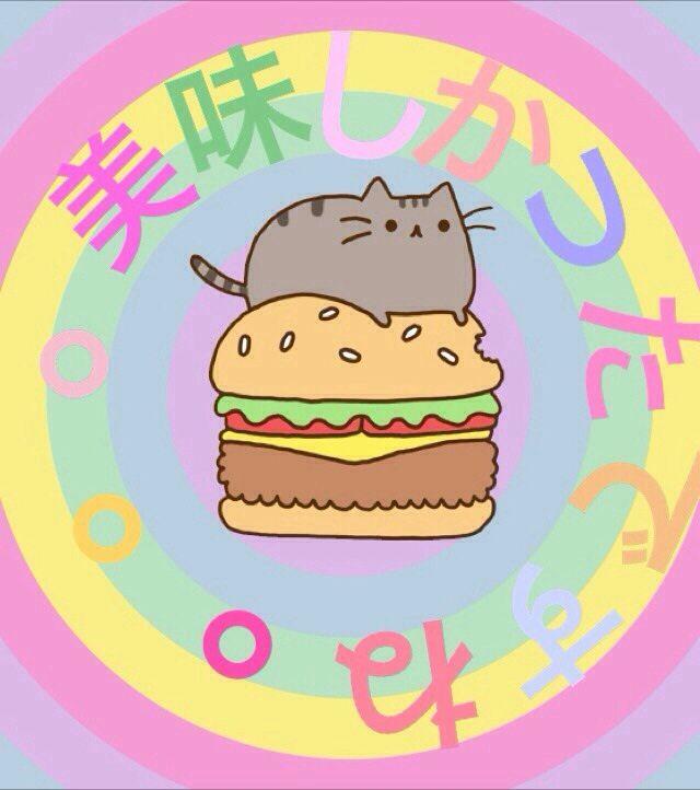 Pusheen with a burger.
