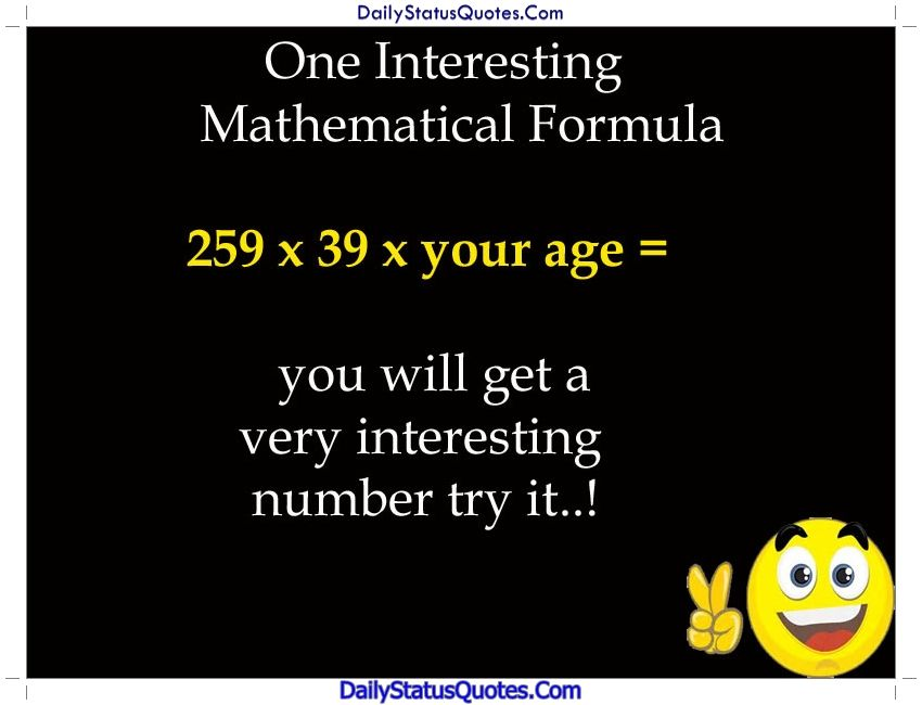 One Interesting Mathematical Formula Daily Status Quotes