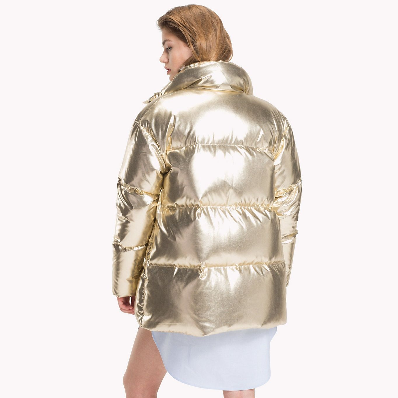 Tommy Hilfiger Tommy Icons Puffer Jacket Rich Gold Tommy Hilfiger Women Detail Image 1 Jacken Daunenjacke Tommy Hilfiger Damen