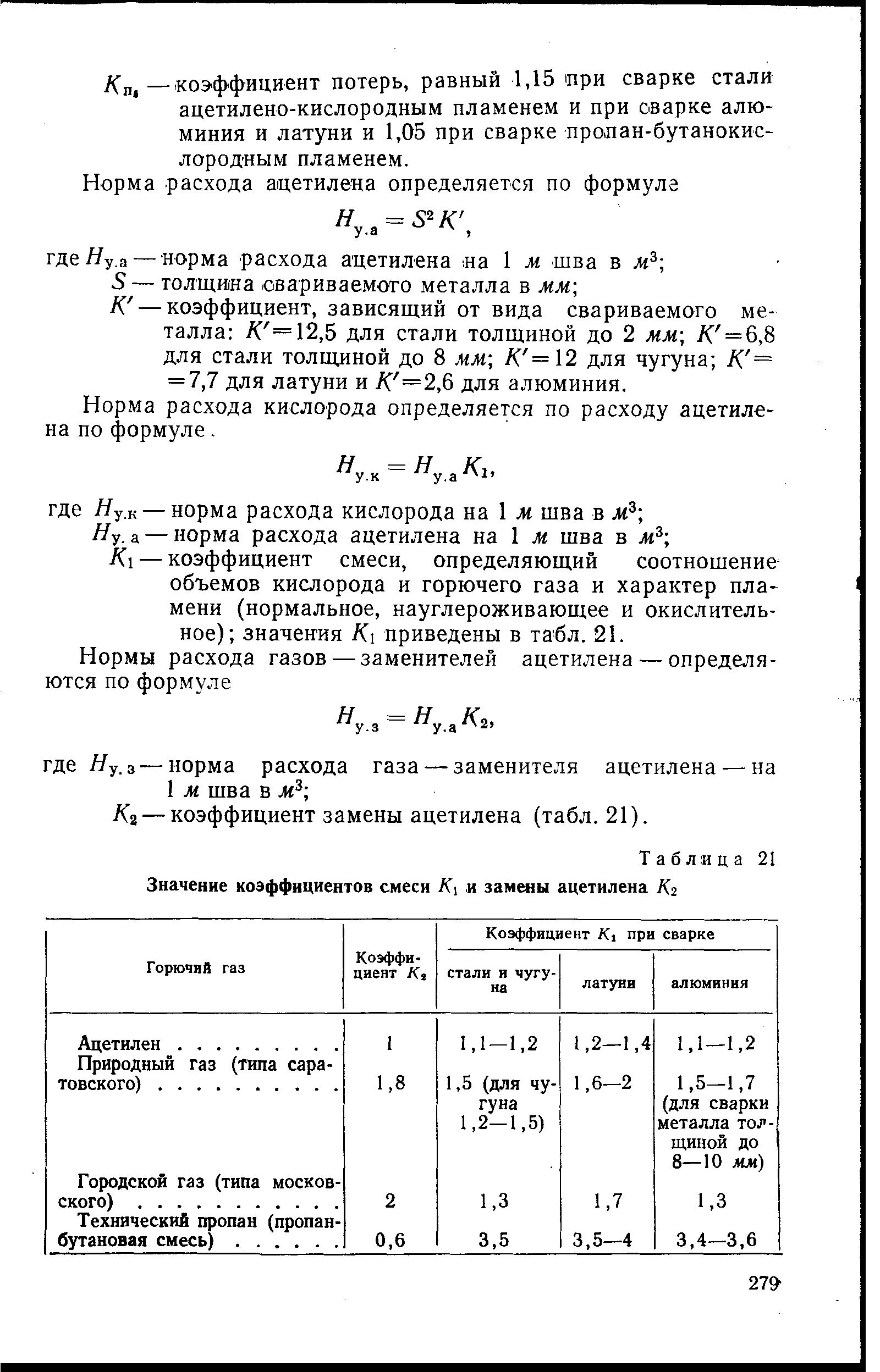 Норма расхода кислорода определяется по расходу ацетилена по формуле,