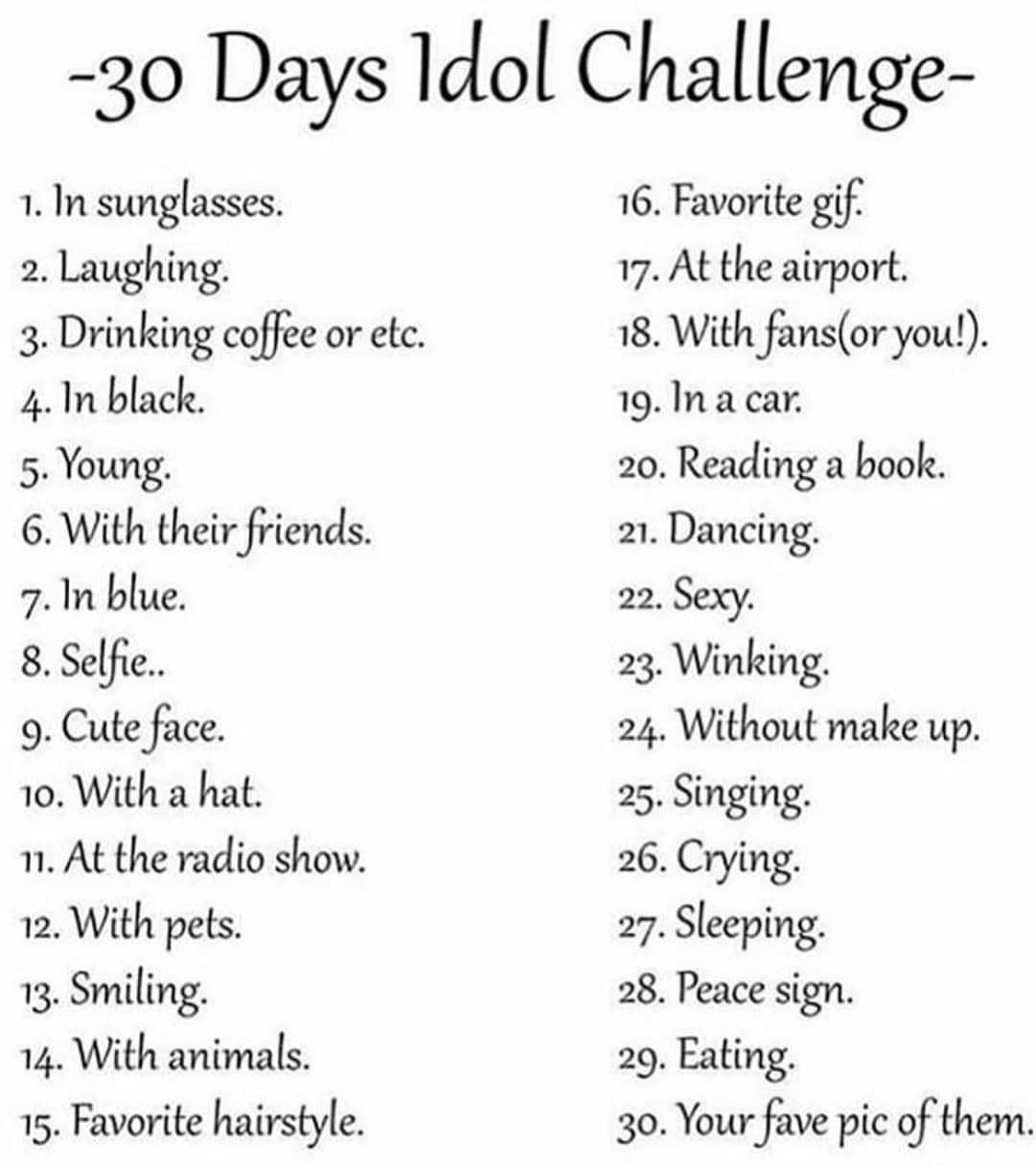 30 Days Idol Challenge Sebastian Stan 30 Day Music Challenge 30 Days Photo Challenge Music Challenge