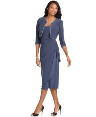 09b8baea12bdb Alex Evenings Dress and Jacket, Sleeveless Rhinestone Ruffled Tea Length -  Womens Mother of the Bride Dresses - Macy's