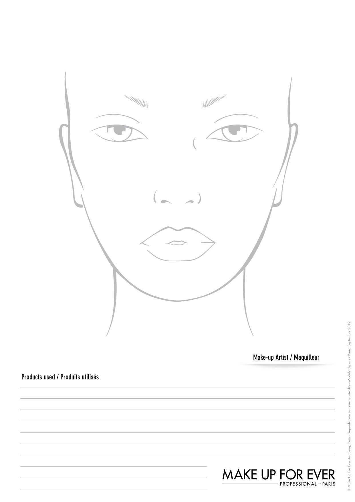 photo relating to Printable Face Charts named Printable Deal with Charts For Make-up Artists