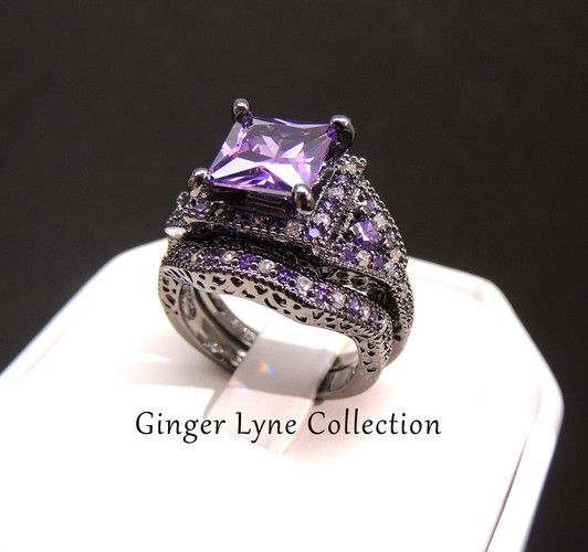 Danielle Gorgeous Purple Wedding Ring Set Black Plated Purple