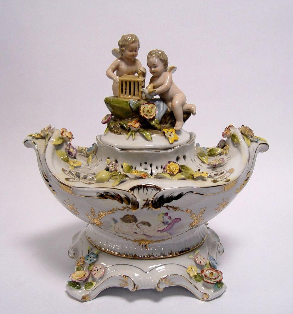 porzellanfigur figur porzellan vase schale mit deckel engelfigur engel figurina porc t l ra. Black Bedroom Furniture Sets. Home Design Ideas