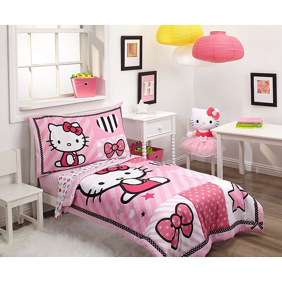 Hello Kitty 4 Piece Toddler Bedding Set Pink Toddler Bed Hello