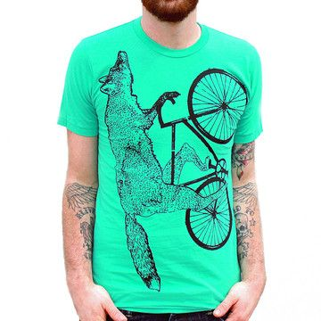 Fox On A Bicycle T-Shirt Green, £15, now featured on Fab.