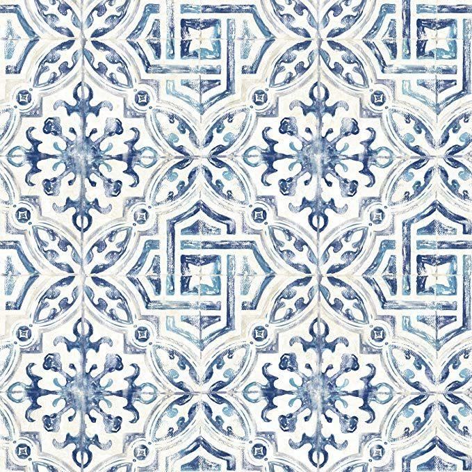 Warner 3117 12332 Sonoma Blue Spanish Tile Wallpaper Geometric Wallpaper Brewster Wallpaper Tile Wallpaper