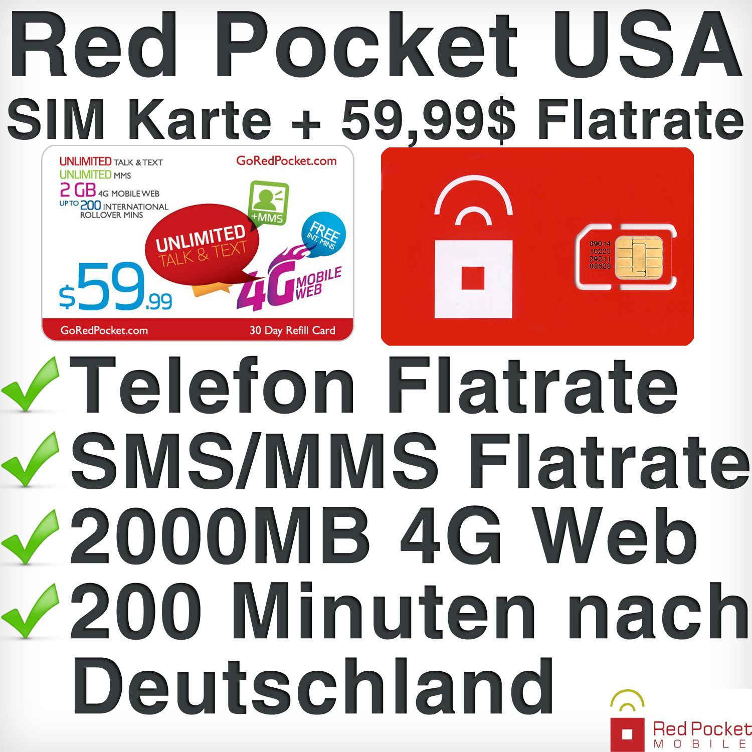 Red Pocket Usa Sim Karte 59 99 Flatrate 59 99 Talk Guthaben