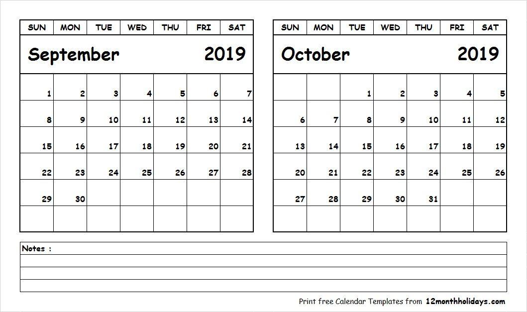 September October 2019 Calendar Printable | 2018 Calendar ...