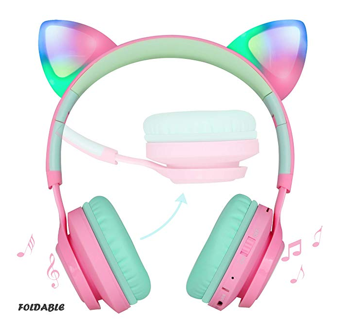 Kids Headphones Wireless Bluetooth With Cat Ear Headphones For Kids Xmas Gift With A Lighting Theme Kids Headp Headphones Bluetooth Headphones Cute Headphones