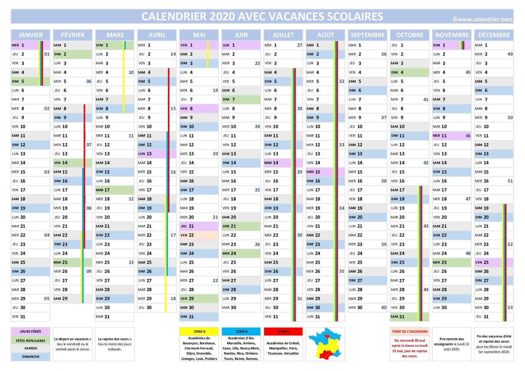Calendrier 2021 Avec Jours Fériés Vacances Scolaires Gratuit Calendrier 2020 avec vacances scolaires | Calendrier vacances