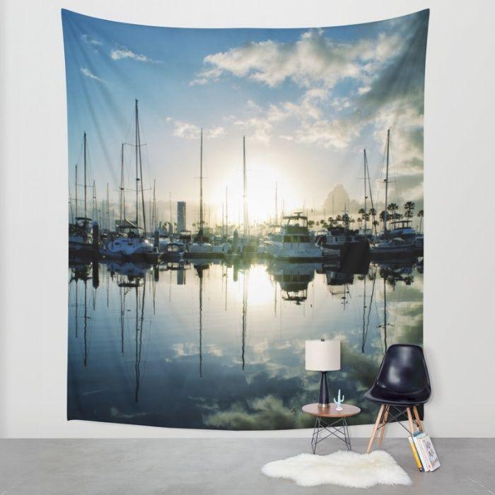 #tapestry #tapestries #walltapestry #walltapestries #marina #ocean #sunrise #sunset #photography #wallart #homedecor #dormdecor #dormify #ocean #sea #sailing #boats #sailaway #reflections #clouds #calm #dramaticdecor #richcaspian #society6 #nautical