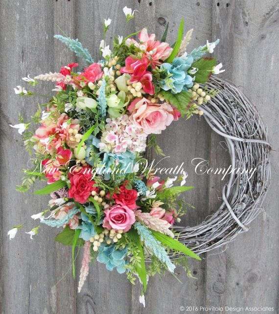 Spring wreath easter wreath spring floral by for How to make door wreaths for spring