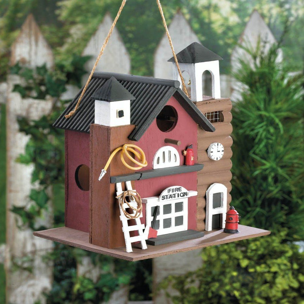 Fire Station Bird House | Bird houses, Yards and Birdhouse on cat house designs, signs designs, box house designs, luxury pool house designs, beehive plans and designs, food designs, bird designs,