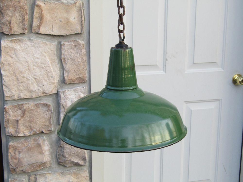 Details About Vintage Green Porcelain Enamel Light Fixture