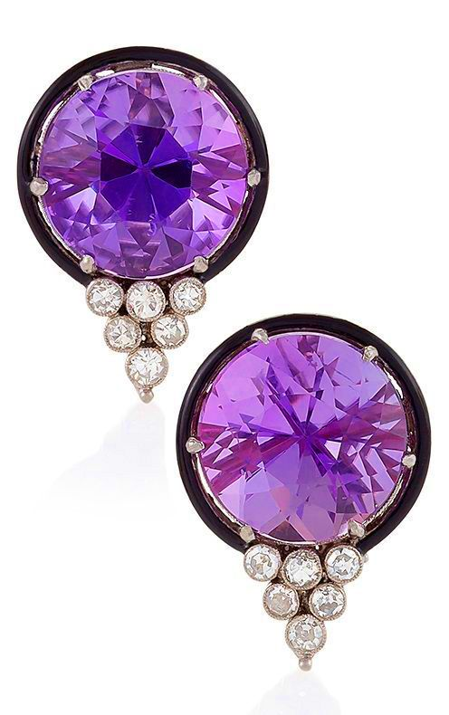 A pair of Art Deco platinum amethyst and diamond Earrings, 1930s. <3