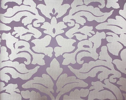 imperia wallpaper contemporary damask wallpaper in lilac and silver - Contemporary Damask Wallpaper