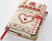 Handmade Book Cover Patchwork Hearts and Swiss Chalets