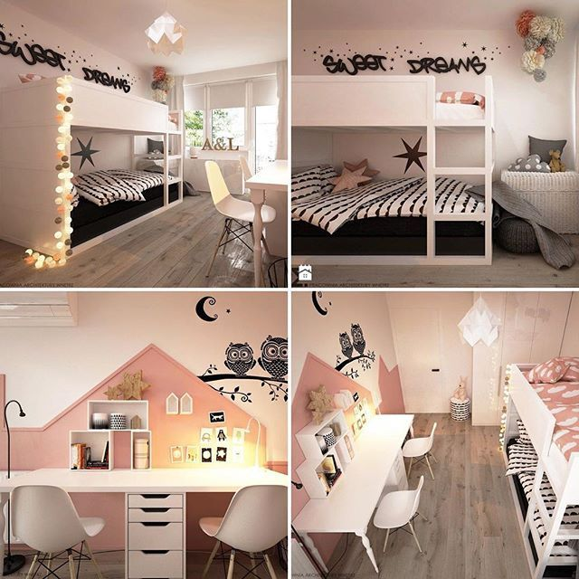 Ikea room for two girls #Ikea #Kura #ikeahack #kidsroom #girlsroom #barnruminspo Elementy Pracownia on homebook.pl