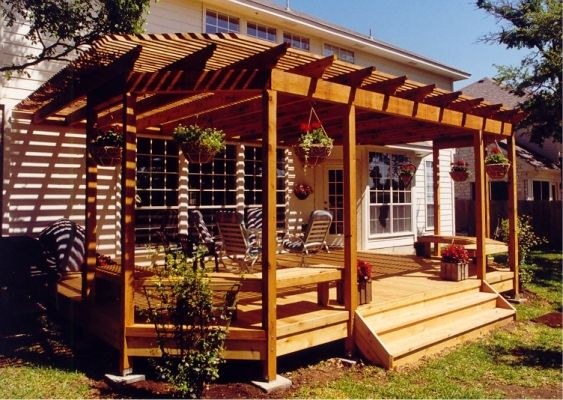 wood arbor plans over a deck plans diy outdoor wood ground level landscaping front porch - Backyard Deck Designs